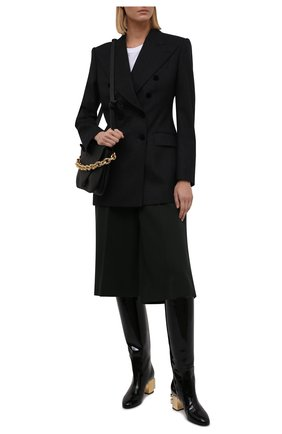 Женские комбинированные сапоги vally DOLCE & GABBANA черного цвета, арт. CU0767/AQ377 | Фото 2 (Высота голенища: Средние; Подошва: Плоская; Материал внутренний: Натуральная кожа; Материал внешний: Текстиль; Каблук высота: Средний; Каблук тип: Устойчивый)