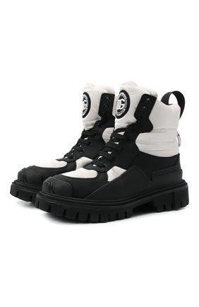 Женские комбинированные ботинки hi trekking DOLCE & GABBANA черно-белого цвета, арт. CT0756/AQ065 | Фото 1 (Каблук высота: Низкий; Материал внутренний: Натуральная кожа; Материал внешний: Текстиль; Подошва: Платформа; Женское Кросс-КТ: Зимние ботинки)