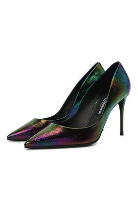 Женские кожаные туфли cardinale DOLCE & GABBANA фиолетового цвета, арт. CD1657/AQ559 | Фото 1 (Подошва: Плоская; Материал внутренний: Натуральная кожа; Каблук высота: Высокий; Каблук тип: Шпилька)
