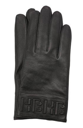 Мужские кожаные перчатки BOSS черного цвета, арт. 50457532 | Фото 1 (Мужское Кросс-КТ: Кожа и замша)
