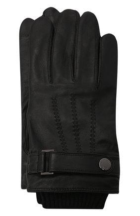Мужские кожаные перчатки BOSS черного цвета, арт. 50457508 | Фото 1 (Мужское Кросс-КТ: Кожа и замша)