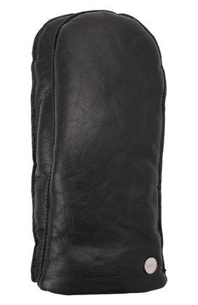 Мужские кожаные варежки HUGO черного цвета, арт. 50461213 | Фото 1 (Мужское Кросс-КТ: Кожа и замша)