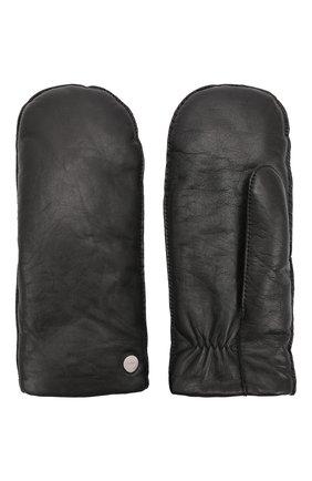 Мужские кожаные варежки HUGO черного цвета, арт. 50461213 | Фото 2 (Мужское Кросс-КТ: Кожа и замша)