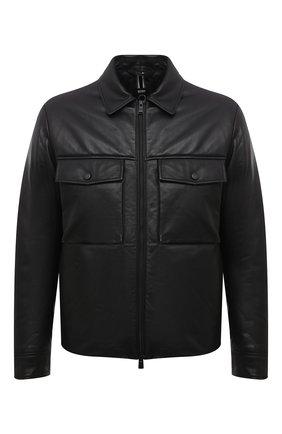 Мужская кожаная куртка BOSS черного цвета, арт. 50456305 | Фото 1 (Рукава: Длинные; Длина (верхняя одежда): Короткие; Мужское Кросс-КТ: Кожа и замша; Кросс-КТ: Куртка; Стили: Кэжуэл)