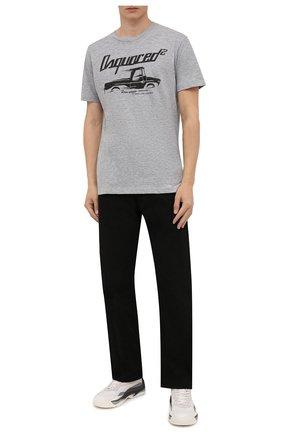 Мужская футболка из хлопка и вискозы DSQUARED2 серого цвета, арт. S71GD1092/S22146 | Фото 2 (Рукава: Короткие; Длина (для топов): Стандартные; Материал внешний: Хлопок; Принт: С принтом; Стили: Гранж)