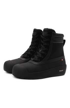 Мужские комбинированные ботинки croker BALLY черного цвета, арт. CR0KER-T/30 | Фото 1 (Материал утеплителя: Натуральный мех; Подошва: Массивная; Мужское Кросс-КТ: Ботинки-обувь, зимние ботинки)