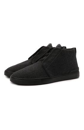 Мужские текстильные ботинки ZEGNA COUTURE темно-серого цвета, арт. A5075X-LHUTE | Фото 1 (Материал внешний: Текстиль; Подошва: Массивная; Материал внутренний: Натуральная кожа, Текстиль; Мужское Кросс-КТ: Ботинки-обувь)