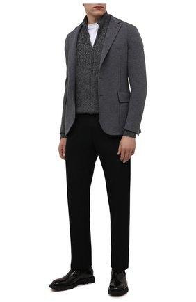 Мужской кашемировый кардиган CORNELIANI темно-серого цвета, арт. 88M543-1825155/00   Фото 2 (Материал внешний: Шерсть, Кашемир; Длина (для топов): Стандартные; Рукава: Длинные; Мужское Кросс-КТ: Кардиган-одежда; Стили: Кэжуэл)