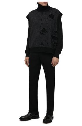 Мужской шерстяной жилет ISABEL BENENATO темно-серого цвета, арт. UK112F21 | Фото 2 (Материал внешний: Шерсть; Длина (верхняя одежда): Короткие; Мужское Кросс-КТ: Жилет-одежда; Стили: Минимализм)