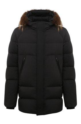 Мужская пуховая куртка с меховой отделкой CORNELIANI черного цвета, арт. 8825C9-1820204/00 | Фото 1 (Длина (верхняя одежда): Короткие; Рукава: Длинные; Материал утеплителя: Пух и перо; Материал подклада: Синтетический материал; Кросс-КТ: Куртка; Мужское Кросс-КТ: пуховик-короткий; Стили: Кэжуэл)