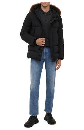 Мужская пуховая куртка с меховой отделкой CORNELIANI черного цвета, арт. 8825C9-1820204/00 | Фото 2 (Длина (верхняя одежда): Короткие; Рукава: Длинные; Материал утеплителя: Пух и перо; Материал подклада: Синтетический материал; Кросс-КТ: Куртка; Мужское Кросс-КТ: пуховик-короткий; Стили: Кэжуэл)