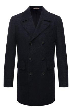 Мужской шерстяное пальто CORNELIANI темно-синего цвета, арт. 881502-1812123/90 | Фото 1 (Материал подклада: Вискоза; Материал внешний: Шерсть; Мужское Кросс-КТ: пальто-верхняя одежда; Длина (верхняя одежда): До середины бедра; Рукава: Длинные; Стили: Классический)