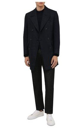 Мужской шерстяное пальто CORNELIANI темно-синего цвета, арт. 881502-1812123/90 | Фото 2 (Материал подклада: Вискоза; Материал внешний: Шерсть; Мужское Кросс-КТ: пальто-верхняя одежда; Длина (верхняя одежда): До середины бедра; Рукава: Длинные; Стили: Классический)