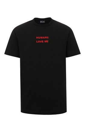 Мужская хлопковая футболка DIESEL черного цвета, арт. A03285/0WBBF | Фото 1 (Материал внешний: Хлопок; Длина (для топов): Стандартные; Рукава: Короткие; Принт: С принтом; Стили: Гранж)