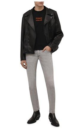 Мужская хлопковая футболка DIESEL черного цвета, арт. A03285/0WBBF | Фото 2 (Материал внешний: Хлопок; Длина (для топов): Стандартные; Рукава: Короткие; Принт: С принтом; Стили: Гранж)