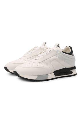 Мужские кожаные кроссовки SANTONI кремвого цвета, арт. MSAM21373BGNGKIGI55 | Фото 1 (Подошва: Массивная; Материал внутренний: Натуральная кожа; Стили: Классический)
