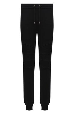 Мужские хлопковые джоггеры BALMAIN черного цвета, арт. WH00B000/B152   Фото 1 (Материал внешний: Хлопок; Длина (брюки, джинсы): Стандартные; Силуэт М (брюки): Джоггеры; Мужское Кросс-КТ: Брюки-трикотаж; Стили: Спорт-шик)