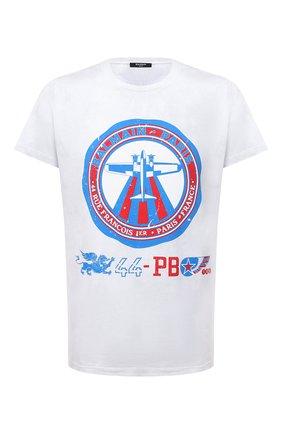 Мужская хлопковая футболка BALMAIN белого цвета, арт. WH0EF000/G104   Фото 1 (Материал внешний: Хлопок; Рукава: Короткие; Длина (для топов): Стандартные; Принт: С принтом; Стили: Спорт-шик)