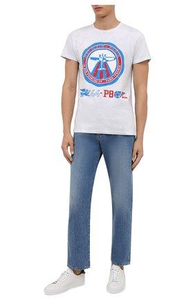 Мужская хлопковая футболка BALMAIN белого цвета, арт. WH0EF000/G104   Фото 2 (Материал внешний: Хлопок; Рукава: Короткие; Длина (для топов): Стандартные; Принт: С принтом; Стили: Спорт-шик)