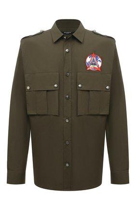 Мужская хлопковая рубашка BALMAIN хаки цвета, арт. WH0HU141/CA02 | Фото 1 (Материал внешний: Хлопок; Длина (для топов): Стандартные; Рукава: Длинные; Случай: Повседневный; Манжеты: На пуговицах; Воротник: Кент; Принт: Однотонные; Стили: Гранж)