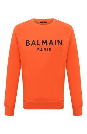 Мужской хлопковый свитшот BALMAIN оранжевого цвета, арт. WH0JQ005/B151 | Фото 1 (Материал внешний: Хлопок; Длина (для топов): Стандартные; Рукава: Длинные; Мужское Кросс-КТ: свитшот-одежда; Принт: С принтом; Стили: Кэжуэл)