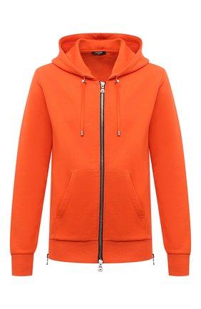 Мужской хлопковая толстовка BALMAIN оранжевого цвета, арт. WH0JR010/B151 | Фото 1 (Материал внешний: Хлопок; Рукава: Длинные; Длина (для топов): Стандартные; Мужское Кросс-КТ: Толстовка-одежда; Стили: Спорт-шик)