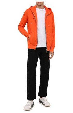 Мужской хлопковая толстовка BALMAIN оранжевого цвета, арт. WH0JR010/B151 | Фото 2 (Материал внешний: Хлопок; Рукава: Длинные; Длина (для топов): Стандартные; Мужское Кросс-КТ: Толстовка-одежда; Стили: Спорт-шик)