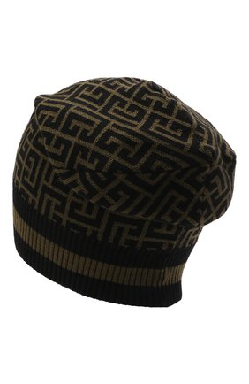 Мужская шерстяная шапка BALMAIN хаки цвета, арт. WH0XC000/K036   Фото 2 (Материал: Шерсть; Кросс-КТ: Трикотаж)