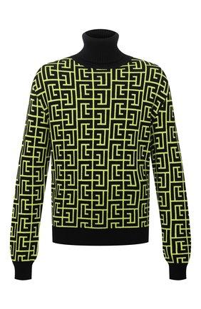 Мужской шерстяной свитер BALMAIN светло-зеленого цвета, арт. WH2KH000/K054 | Фото 1 (Длина (для топов): Стандартные; Материал внешний: Шерсть; Рукава: Длинные; Мужское Кросс-КТ: Свитер-одежда; Принт: С принтом; Стили: Кэжуэл)
