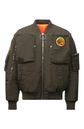 Мужской утепленный бомбер BALMAIN хаки цвета, арт. WH0TF130/XA02 | Фото 1 (Длина (верхняя одежда): Короткие; Материал внешний: Синтетический материал; Материал подклада: Синтетический материал; Рукава: Длинные; Кросс-КТ: Куртка; Принт: С принтом; Стили: Гранж; Мужское Кросс-КТ: утепленные куртки)