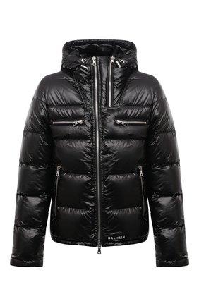 Мужская пуховая куртка BALMAIN черного цвета, арт. WH1TP009/X112   Фото 1 (Материал утеплителя: Пух и перо; Материал внешний: Синтетический материал; Длина (верхняя одежда): Короткие; Рукава: Длинные; Кросс-КТ: Куртка; Мужское Кросс-КТ: пуховик-короткий; Стили: Кэжуэл)