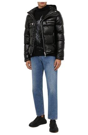 Мужская пуховая куртка BALMAIN черного цвета, арт. WH1TP009/X112   Фото 2 (Материал утеплителя: Пух и перо; Материал внешний: Синтетический материал; Длина (верхняя одежда): Короткие; Рукава: Длинные; Кросс-КТ: Куртка; Мужское Кросс-КТ: пуховик-короткий; Стили: Кэжуэл)