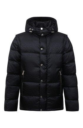 Мужская пуховая куртка BALMAIN черного цвета, арт. WH1TP035/X167   Фото 1 (Рукава: Длинные; Материал внешний: Синтетический материал; Длина (верхняя одежда): Короткие; Материал утеплителя: Пух и перо; Материал подклада: Синтетический материал; Кросс-КТ: Куртка; Мужское Кросс-КТ: пуховик-короткий; Стили: Кэжуэл)
