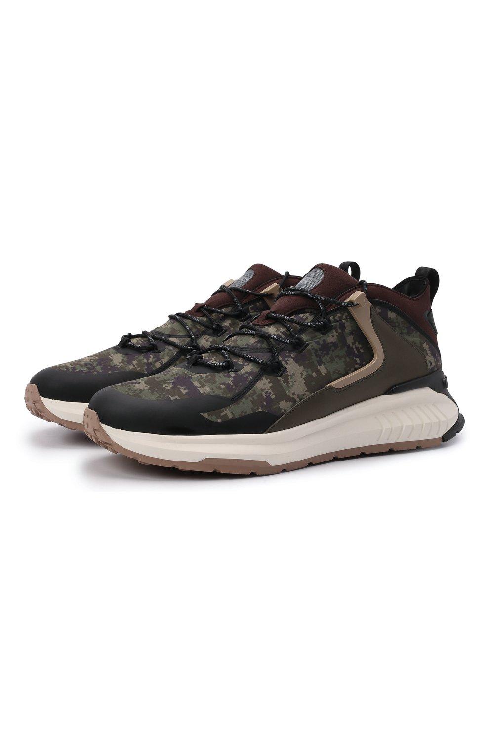 Мужские комбинированные кроссовки no code TOD'S хаки цвета, арт. XXM07I0EW20QNB | Фото 1 (Материал внешний: Текстиль; Стили: Гранж; Материал внутренний: Текстиль; Подошва: Массивная)