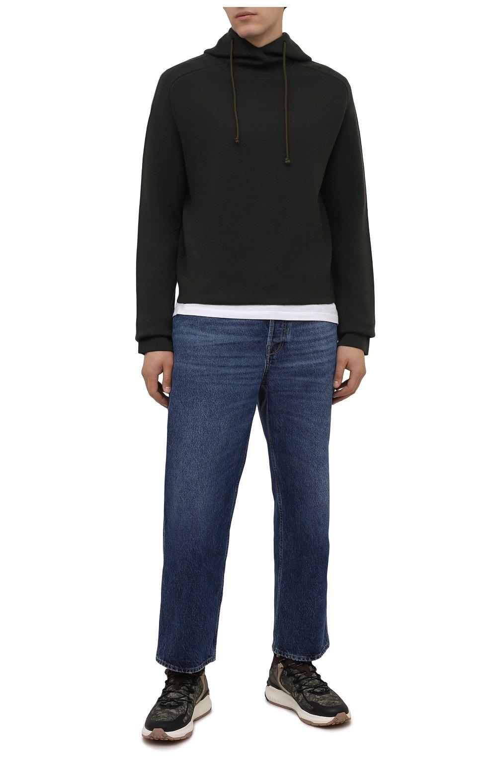 Мужские комбинированные кроссовки no code TOD'S хаки цвета, арт. XXM07I0EW20QNB | Фото 2 (Материал внешний: Текстиль; Стили: Гранж; Материал внутренний: Текстиль; Подошва: Массивная)