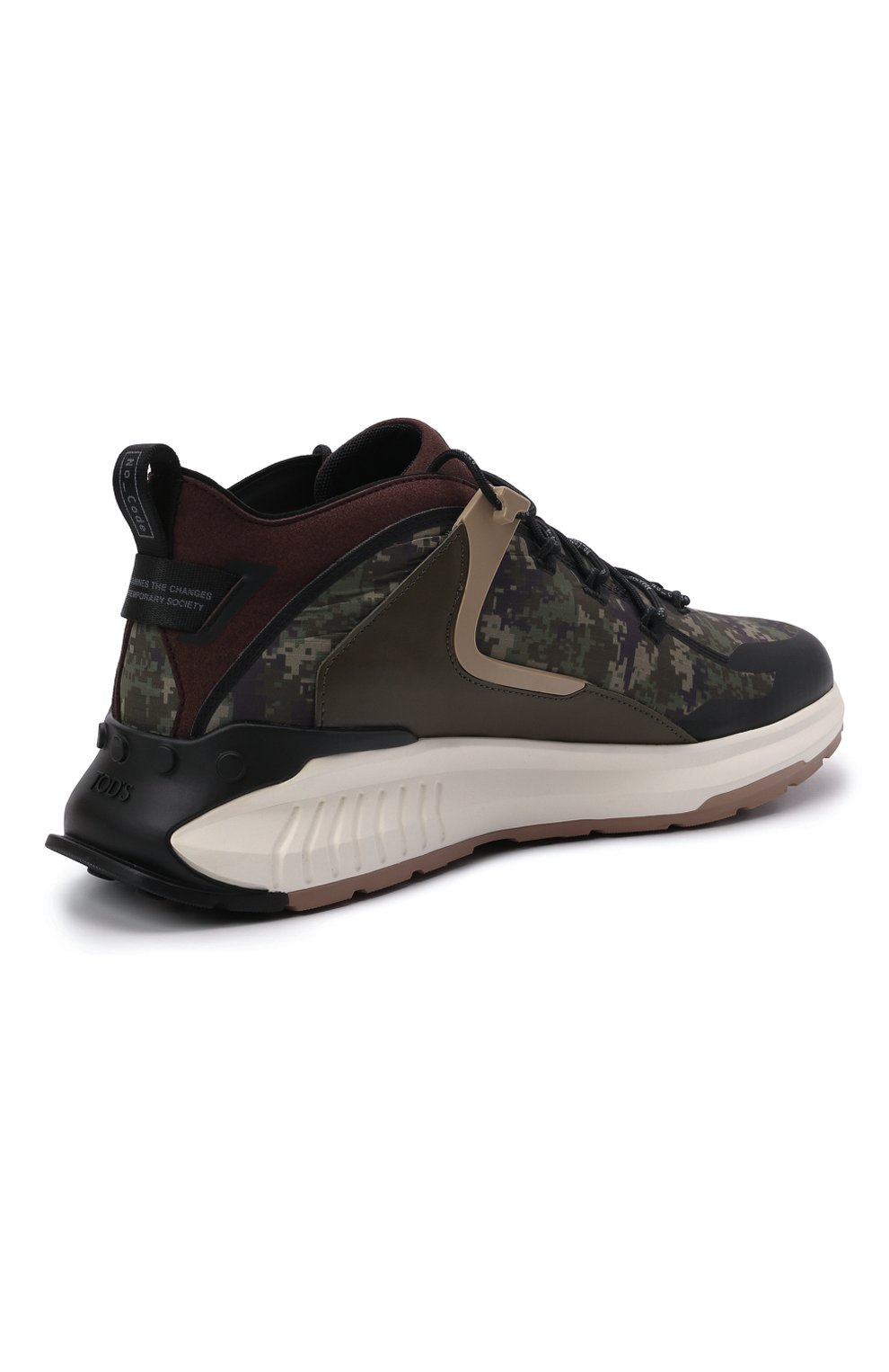Мужские комбинированные кроссовки no code TOD'S хаки цвета, арт. XXM07I0EW20QNB | Фото 4 (Материал внешний: Текстиль; Стили: Гранж; Материал внутренний: Текстиль; Подошва: Массивная)