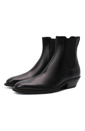 Мужские кожаные казаки TOD'S черного цвета, арт. XXM08H00P20QGL | Фото 1 (Материал внутренний: Натуральная кожа; Подошва: Плоская; Материал внешний: Текстиль; Мужское Кросс-КТ: Сапоги-обувь, Казаки-обувь)