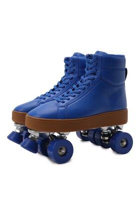 Мужские кожаные роликовые коньки BOTTEGA VENETA синего цвета, арт. 667061/V00T0 | Фото 1 (Материал внешний: Резина, Экокожа; Подошва: Массивная)