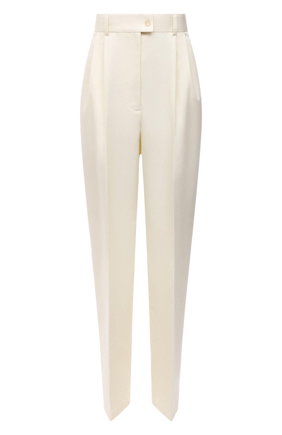 Женские хлопковые брюки PERVERT кремвого цвета, арт. PE21/PA02K/40-08 | Фото 1 (Длина (брюки, джинсы): Стандартные; Женское Кросс-КТ: Брюки-одежда; Материал внешний: Синтетический материал, Хлопок; Силуэт Ж (брюки и джинсы): Прямые; Стили: Кэжуэл)