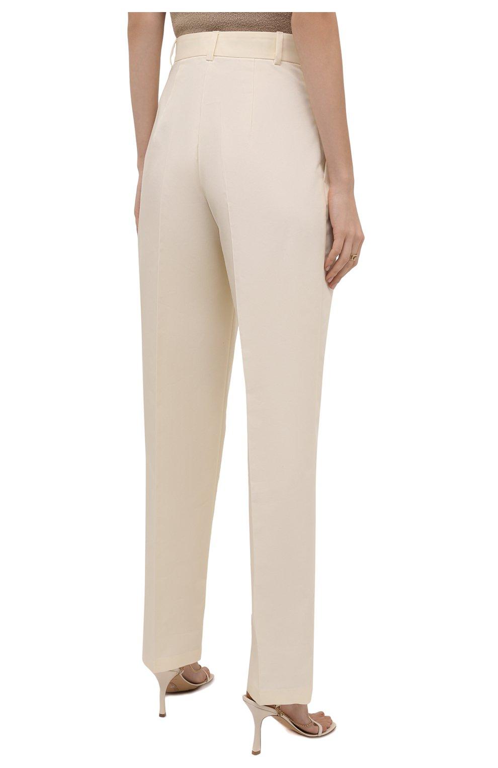 Женские хлопковые брюки PERVERT кремвого цвета, арт. PE21/PA02K/40-08 | Фото 4 (Длина (брюки, джинсы): Стандартные; Женское Кросс-КТ: Брюки-одежда; Материал внешний: Синтетический материал, Хлопок; Силуэт Ж (брюки и джинсы): Прямые; Стили: Кэжуэл)