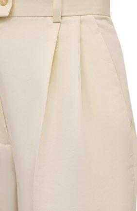 Женские хлопковые брюки PERVERT кремвого цвета, арт. PE21/PA02K/40-08 | Фото 5 (Длина (брюки, джинсы): Стандартные; Женское Кросс-КТ: Брюки-одежда; Материал внешний: Синтетический материал, Хлопок; Силуэт Ж (брюки и джинсы): Прямые; Стили: Кэжуэл)