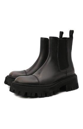 Женские кожаные ботинки tractor BALENCIAGA черного цвета, арт. 671003/WBCP1 | Фото 1 (Каблук высота: Средний; Материал внутренний: Натуральная кожа; Подошва: Платформа; Женское Кросс-КТ: Челси-ботинки)