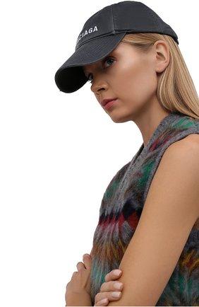 Женская хлопковая бейсболка BALENCIAGA серого цвета, арт. 673319/410B2 | Фото 2 (Материал: Хлопок, Текстиль)
