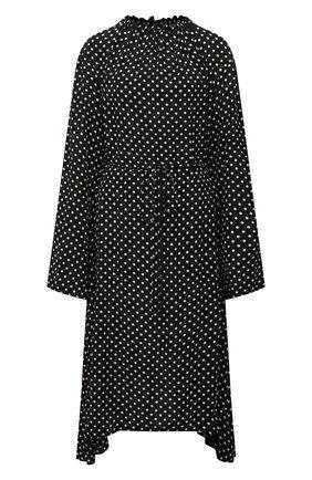 Женское шелковое платье BALENCIAGA черного цвета, арт. 659084/TLLH8 | Фото 1 (Рукава: Длинные; Длина Ж (юбки, платья, шорты): Миди; Материал внешний: Шелк; Женское Кросс-КТ: Платье-одежда; Стили: Ретро; Случай: Повседневный)
