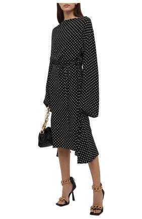 Женское шелковое платье BALENCIAGA черного цвета, арт. 659084/TLLH8 | Фото 2 (Рукава: Длинные; Длина Ж (юбки, платья, шорты): Миди; Материал внешний: Шелк; Женское Кросс-КТ: Платье-одежда; Стили: Ретро; Случай: Повседневный)