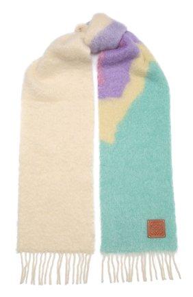 Женский шерстяной шарф LOEWE белого цвета, арт. F655257X03 | Фото 1 (Материал: Шерсть)