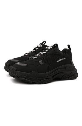 Мужские кроссовки triple s BALENCIAGA черного цвета, арт. 534217/W2CA1 | Фото 1 (Материал внутренний: Текстиль; Материал внешний: Экокожа, Текстиль; Стили: Гранж; Подошва: Массивная)