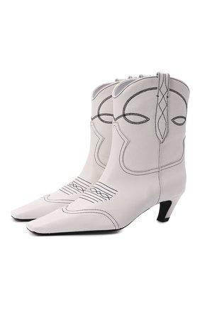 Женские кожаные ботильоны dallas KHAITE белого цвета, арт. F1010-723/DALLAS | Фото 1 (Материал внутренний: Натуральная кожа; Подошва: Платформа; Каблук высота: Средний; Каблук тип: Kitten heel)