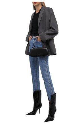 Женские комбинированные сапоги cardinale DOLCE & GABBANA черного цвета, арт. CT0795/AQ132 | Фото 2 (Каблук высота: Высокий; Материал внутренний: Натуральная кожа; Материал внешний: Текстиль; Высота голенища: Средние; Подошва: Плоская; Каблук тип: Шпилька)