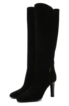 Женские замшевые сапоги SAINT LAURENT черного цвета, арт. 672320/27D00 | Фото 1 (Материал внутренний: Натуральная кожа; Каблук тип: Шпилька; Высота голенища: Высокие, Средние; Каблук высота: Высокий; Подошва: Плоская)